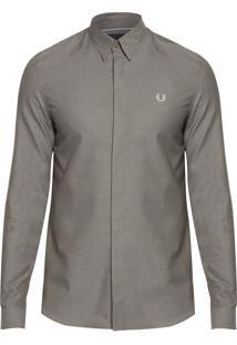 Camisa Masculina Concealed Placket - Cinza