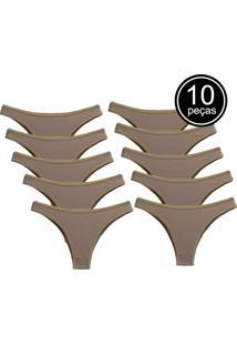 Kit Com 10 Calcinhas Part.B Conforto Bege De Algodão Modelo Tanga