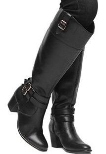 Bota Couro Montaria Shoestock Fivelas Feminina