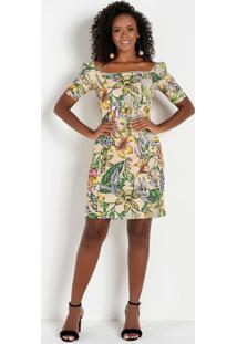 Vestido Com Decote Quadrado Floral Bege