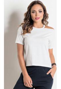 Blusa Branca Quintess Com Ombro Vazado