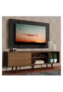 Rack Madesa Dubai Com Pés E Painel Para Tv Até 58 Polegadas - Rustic/Preto 5Zd8 Marrom