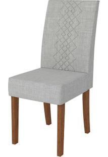 Cadeira Olímpia 2 Peças - Rústico Terrara Com Linho Claro