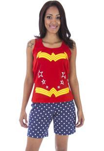 Pijama Curto Inspirate Linha Mãe E Filha Vermelho E Azul