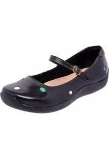 Sapatilha Casual Conforto Em Couro Dr Shoes Preto