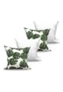Conjunto De Capas Para Almofada Com 4 Peças Folhas Medalhão Branco E Verde 60X60 Cm
