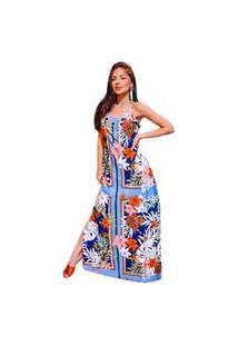 Vestido Longo Estampado Multicolorido