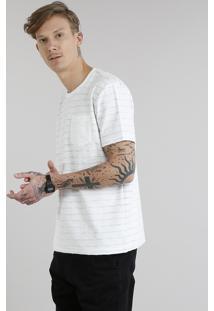Camiseta Masculina Listrada Com Bolso Manga Curta Gola Careca Off White