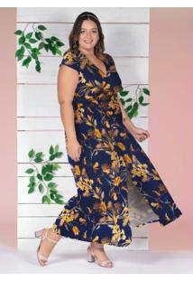 Vestido Transpassado Floral Marinho Plus Size