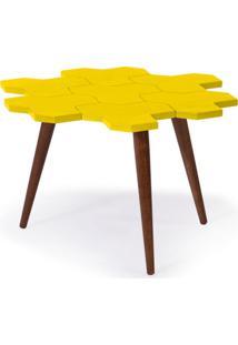 Mesa De Centro Colméia Madeira Com Amarelo Maxima