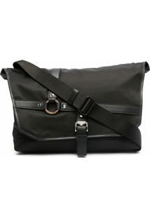 Versace Bolsa Carteiro Grande Com Detalhe De Harness - Preto