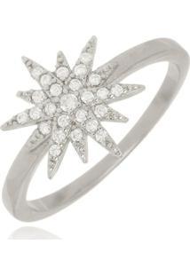 Anel Estrela Cravejada Cristal Di Capri Semi Jóias X Ouro Branco Prata - Tricae