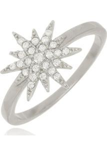 Anel Estrela Cravejada Cristal Di Capri Semi Jóias X Ouro Branco Prata