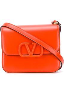 Valentino Valentino Garavani Logo Plaque Crossbody Bag - Laranja