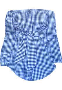 Blusa Ombro Cz Brand Vichy Azul