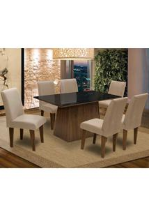 Conjunto De Mesa Para Sala De Jantar C/ Tampo De Vidro E 6 CadeirasFlorença – Dobuê. - Castanho / Preto / Mascavo