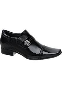 Sapato Social Em Couro Bico Quadrado Masculino Jota Pe - Masculino-Preto