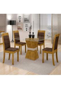 Conjunto De Mesa De Jantar Vitória Com 4 Cadeiras Rubi Veludo Ypê E Marrom