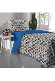 Edredom Solteiro Amigos Do Mickey - Portallar - Azul
