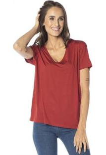 Camiseta Cora Básico Decote V Ampla Modal Feminina - Feminino-Terracota