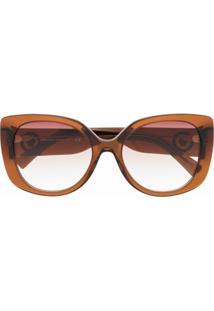 Versace Eyewear Óculos De Sol Oversized Com Lentes Coloridas - Marrom