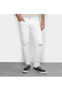 Calça Slim Colcci Destroyed Masculina - Masculino-Branco
