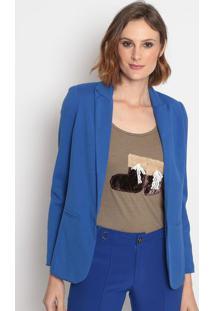 Blazer Liso Com Bolsos Falsos- Azul Royal- Le Fixle Fix