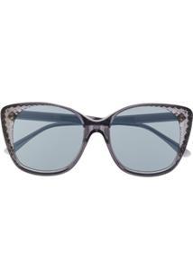 Bottega Veneta Eyewear Óculos De Sol Redondo - Cinza