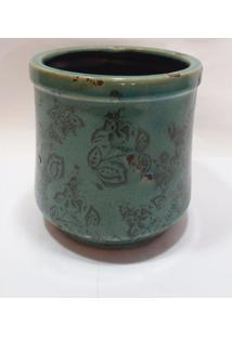 Vaso Verde Agua C/ Detalhes Rusticos De Flores