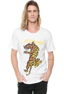 Camiseta Ed Hardy Tiger Climbing Branca