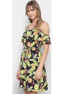Vestido Curto Lily Fashion Floral Open Shoulder Amarração - Feminino-Preto