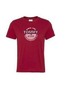 T-Shirt Tommy Jeans Circle Logo Vermelho Tam. Pp