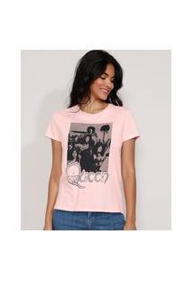 Camiseta Feminina Manga Curta Da Banda Queen Decote Redondo Rosa Claro