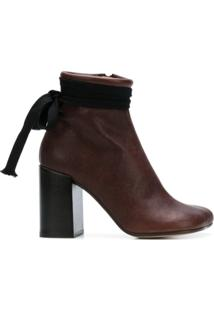 Mm6 Maison Margiela Ankle Boot 'Tabi' De Couro - Marrom