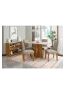 Conjunto De Mesa De Jantar Com Tampo De Vidro Ana E 4 Cadeiras Amanda Ii Animalle Off White E Cinza