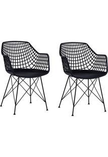 Conjunto Com 2 Cadeiras De Jantar Sidera Preto