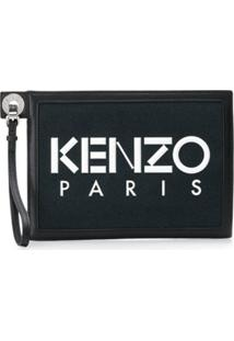Kenzo Clutch Com Logo Estampado - Preto