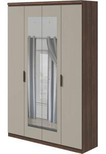 Guarda-Roupa Alonzo Plus Com Espelho - 100% Mdf - 4 Portas - Imbuia Naturale Com Offwhite