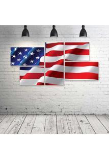 Quadro Decorativo - Usa-Flag - Composto De 5 Quadros - Multicolorido - Dafiti