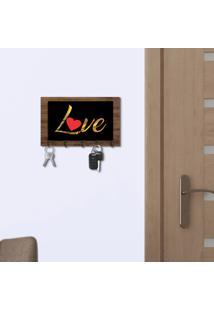Porta Chaves E Cartas Love Amadeirado E Preto Com Relevo Espelhado Dourado Único
