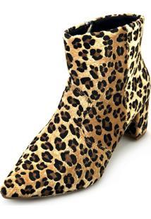 Bota Love Shoes Baixa Salto Grosso Cano Curto Bico Fino Recortes Onça
