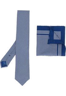 Brioni Conjunto De Gravata E Lenço De Bolso - Azul