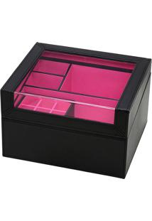 Porta Joias & Maquiagem- Preto & Pink- 15X25X22Cmmabruk