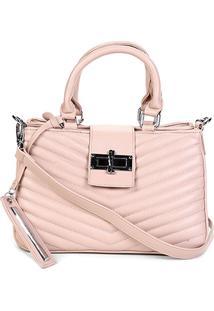 Bolsa Santa Lolla Handbag Matelassê Alça Transversal Feminina - Feminino-Rosa Claro
