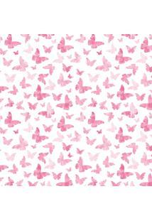 Papel De Parede Quartinhos Adesivo Infantil Borboletas Rosa 2,70X0,57M - Tricae
