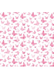 Papel De Parede Quartinhos Adesivo Texturizado Infantil Borboletas Rosa 2,70X0,57M