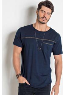 Camiseta Actual Marinho Com Detalhe Frontal