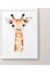 Quadro Decorativo Girafa Menino Moldura Branca