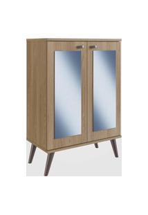 Sapateira Retrô Com Espelho, 2 Portas E 3 Prateleiras Oak Completa Móveis