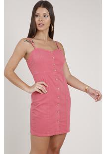 Vestido De Sarja Feminino Curto Com Botões Alça Fina Coral